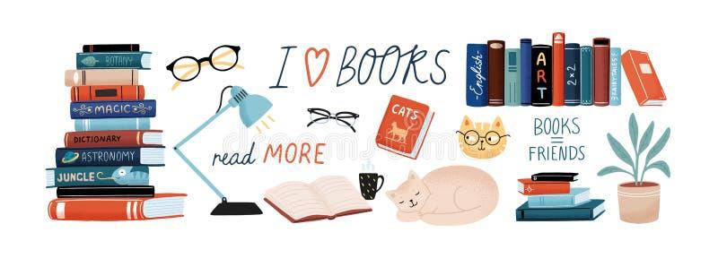Libri ed insieme di lettura Manuali per gli studi universitari, gatti svegli, pianta da appartamento, vetri Pacco di progettazion illustrazione di stock