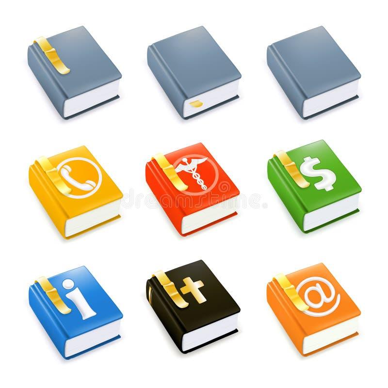 Libri, insieme dell'icona illustrazione vettoriale