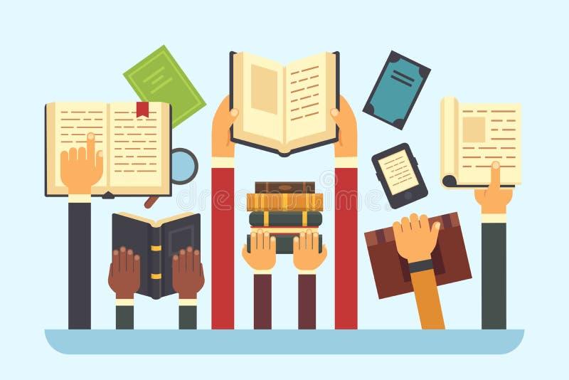 Libri in mani Libro della biblioteca della lettura Passi il manuale della tenuta, illustrazione piana di vettore di istruzione e  illustrazione di stock