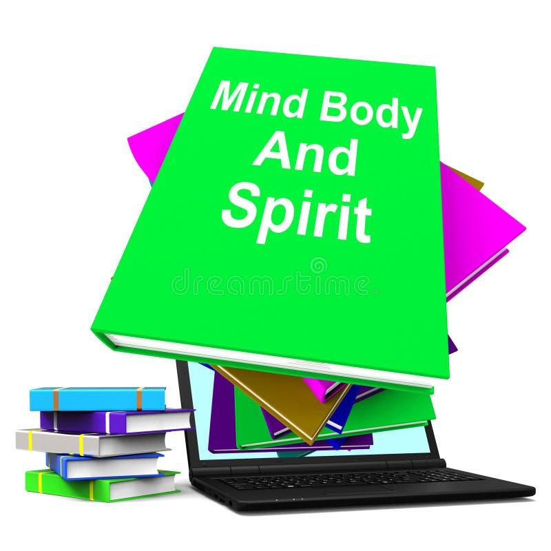 Libri olistici di manifestazioni del computer portatile della pila di libro di spirito e della mente corpo illustrazione vettoriale