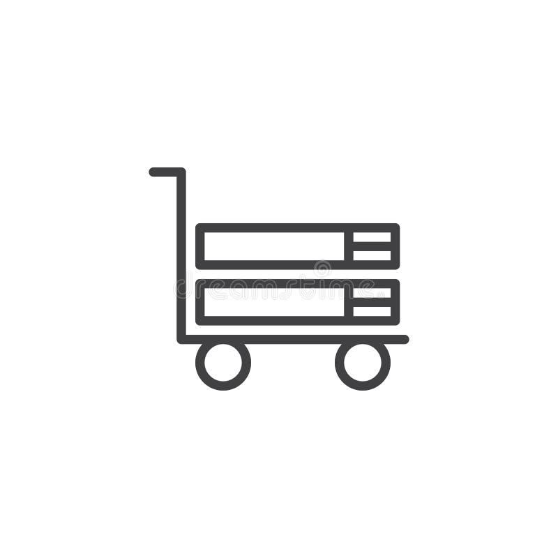 Libri sulla linea icona del carretto del carrello royalty illustrazione gratis