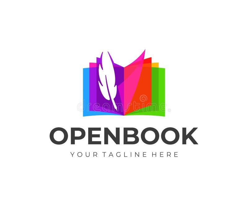 Libro abierto colorido con diseño del logotipo de la pluma de la pluma Pluma y torneado de las páginas del diseño del vector del  libre illustration