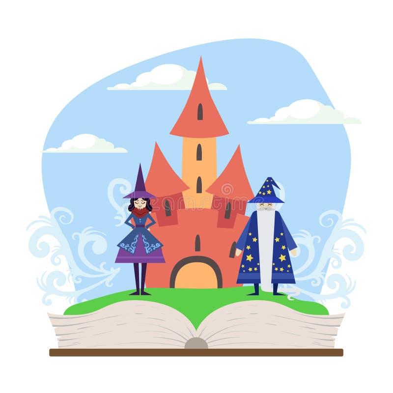 Libro abierto con el ejemplo mágico del vector del castillo, del mago y de la bruja del cuento de hadas ilustración del vector