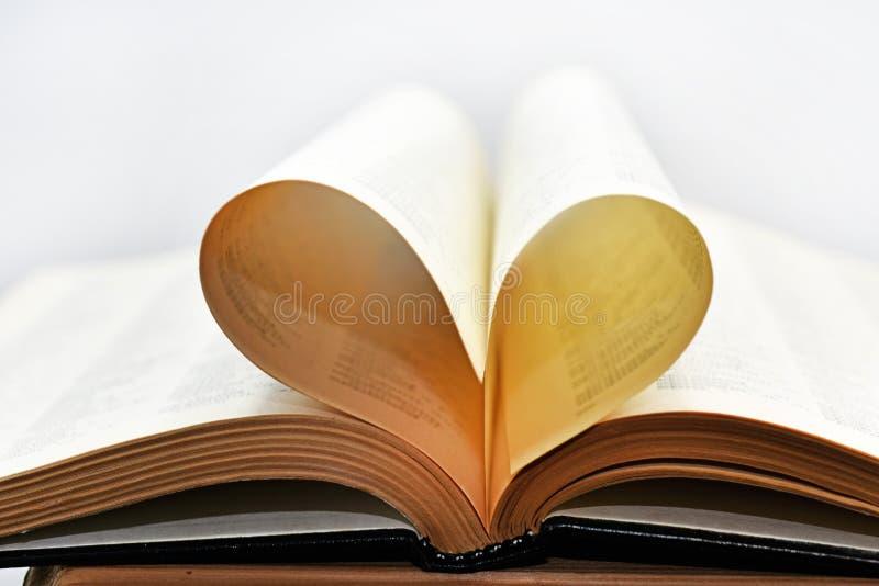 Libro abierto con las hojas de la forma del corazón foto de archivo libre de regalías