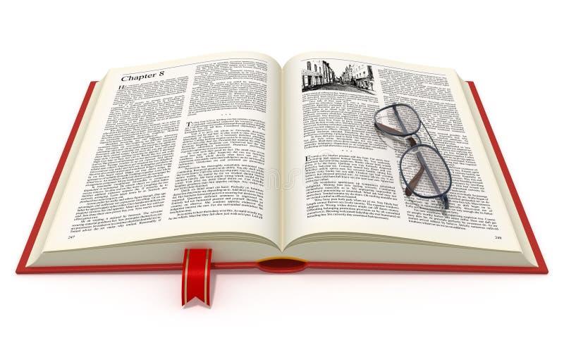 Libro abierto con las lentes libre illustration