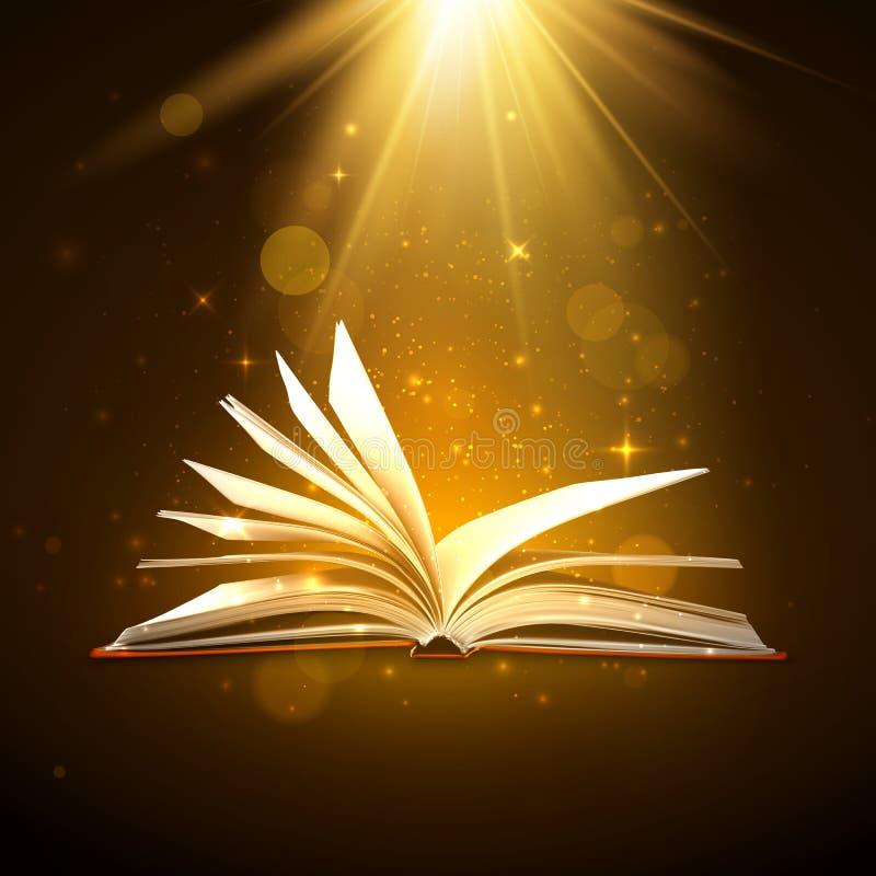 Libro abierto con las páginas brillantes en colores marrones Libro de la fantasía con las chispas y las estrellas ligeras mágicas ilustración del vector