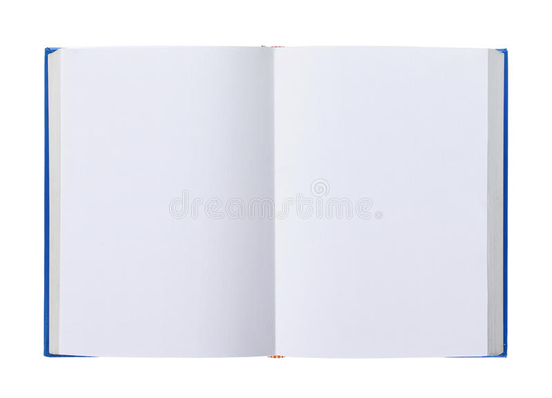 Libro abierto con las paginaciones en blanco aisladas en blanco imágenes de archivo libres de regalías