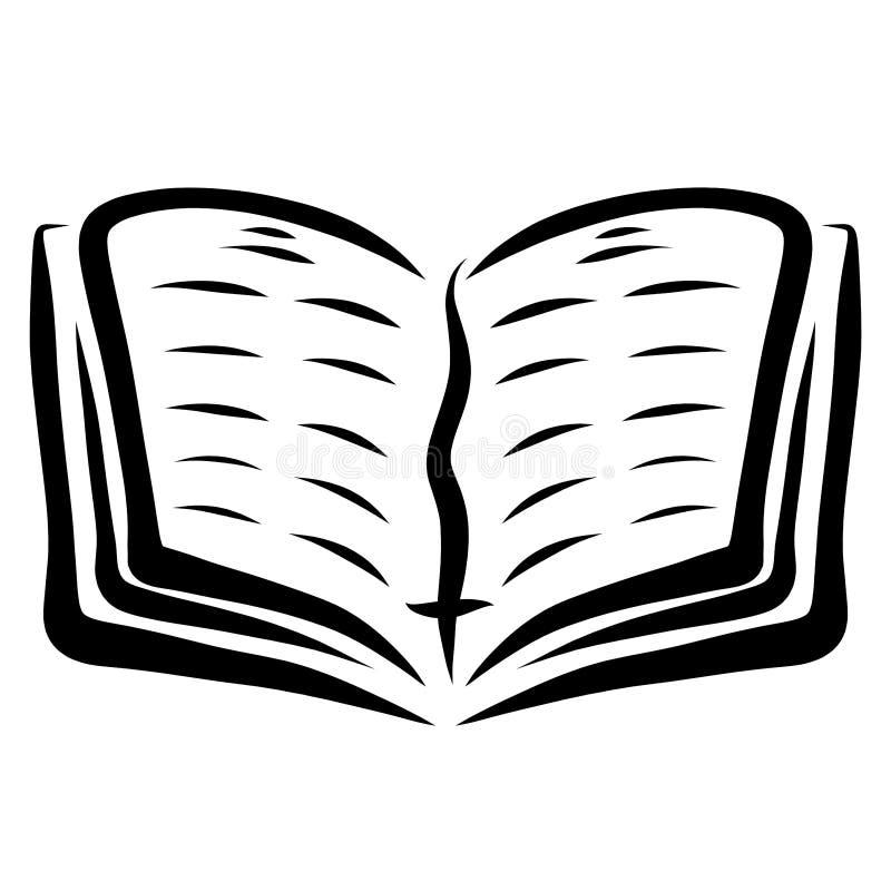 Libro abierto con una señal con un esquema cruzado, negro ilustración del vector