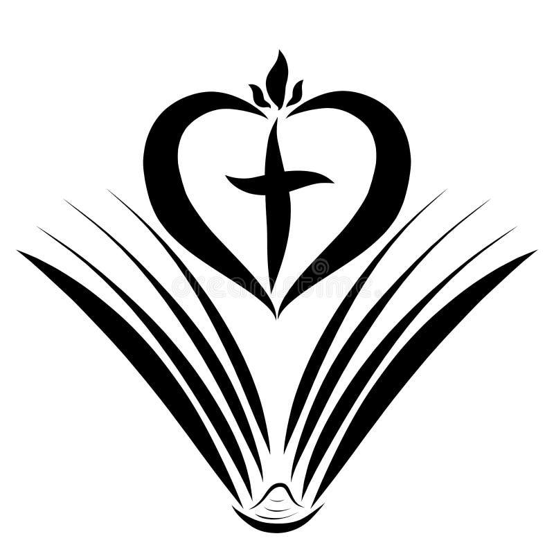 Libro abierto, corazón con la cruz y llama entre las páginas libre illustration