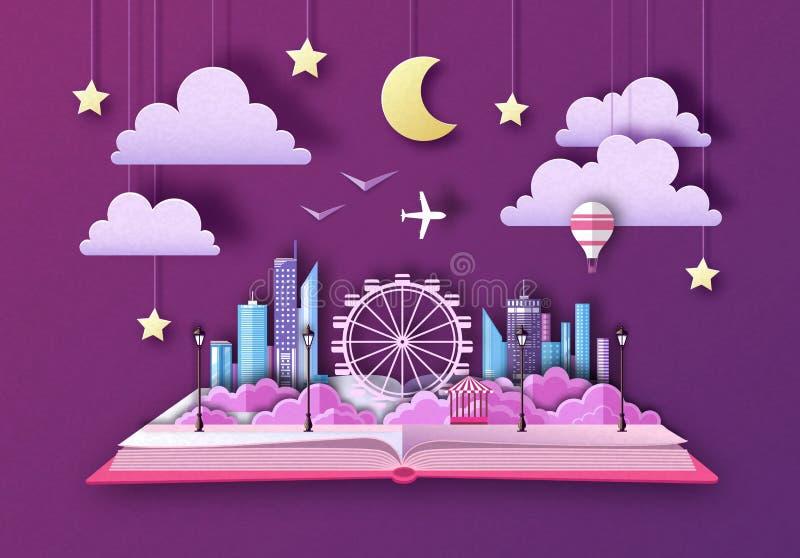 Libro abierto del cuento de hadas con paisaje y la noria de la ciudad Dise?o cortado del estilo del arte del papel ilustración del vector