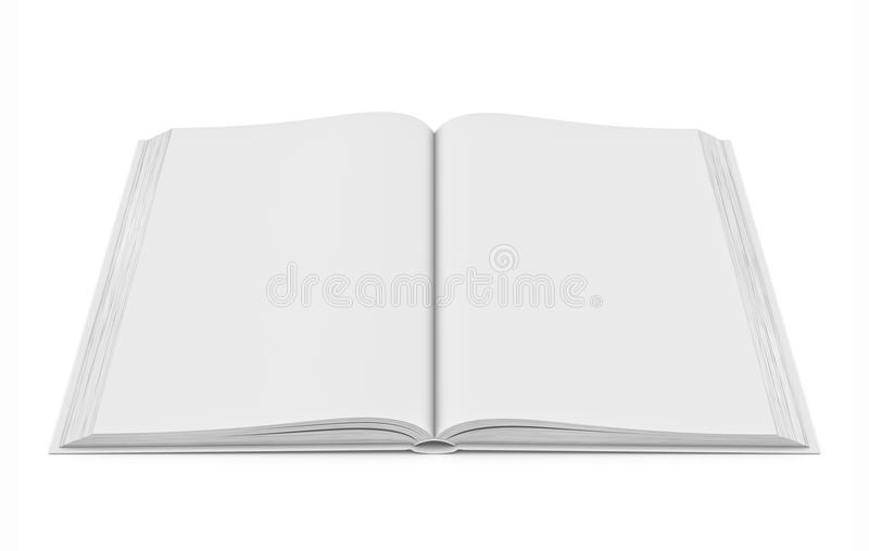 Libro abierto del espacio en blanco blanco en el fondo blanco ilustración del vector