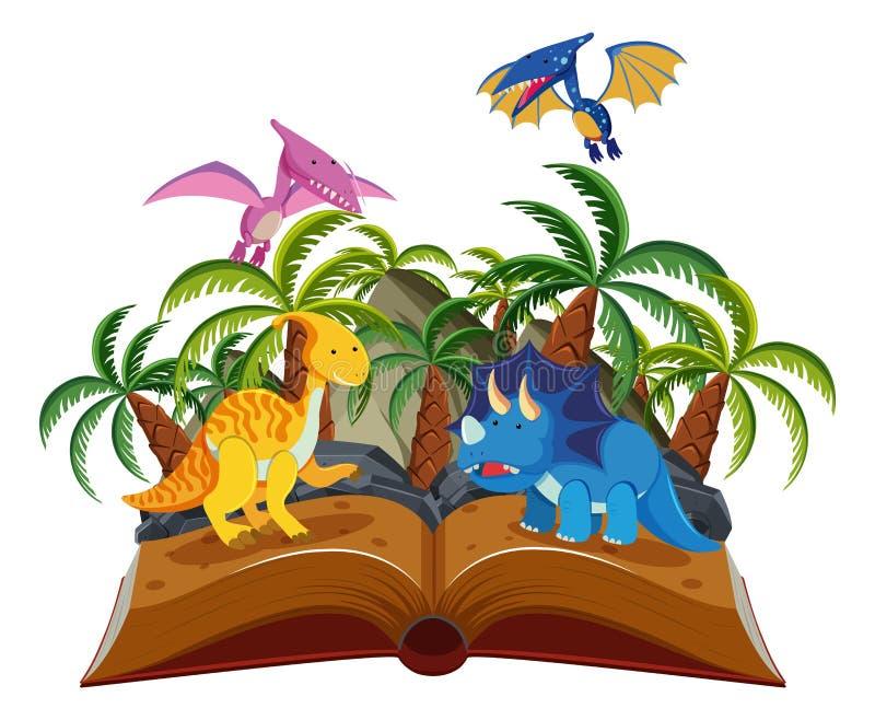 Libro abierto del parque del dinosaurio stock de ilustración
