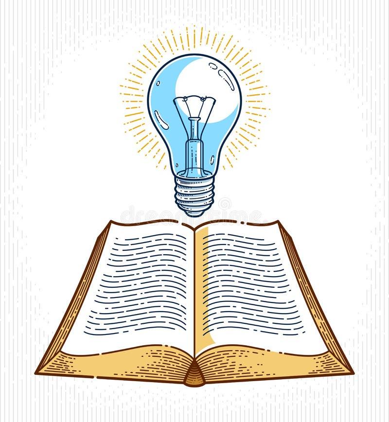 Libro abierto del vintage con el elemento del dise?o gr?fico de vector de la bombilla de la idea, concepto de la literatura de la libre illustration