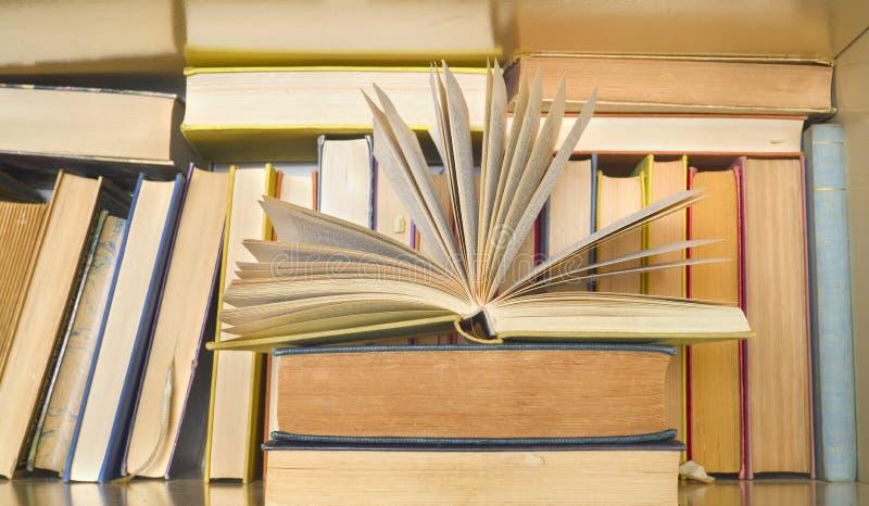 Libro abierto delante de una fila de libros en un estante de librería Lectura, aprendiendo, educaci?n, literatura imágenes de archivo libres de regalías