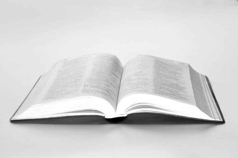 Libro abierto en fondo del waite fotografía de archivo