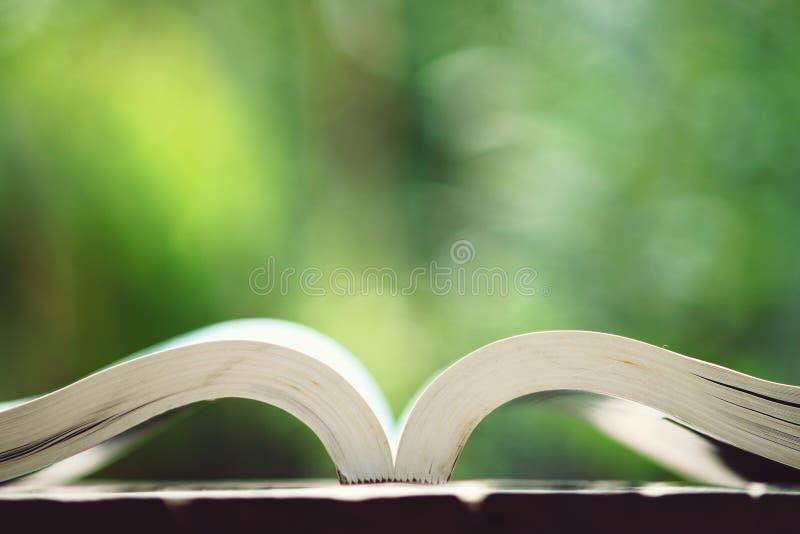 Libro abierto en la tabla de madera en el color de tono del vintage, concepto de la sabiduría, espacio de la copia imágenes de archivo libres de regalías