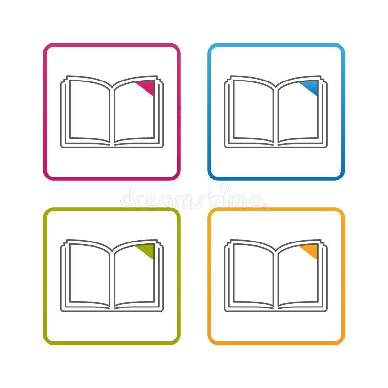 Libro abierto - esquema diseñó el icono - movimiento Editable - ejemplo colorido del vector - aislado en el fondo blanco libre illustration
