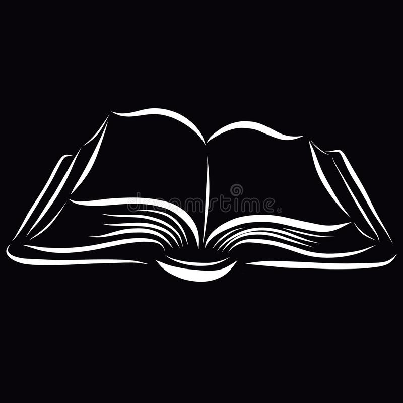 Libro abierto, modelo de líneas blancas lisas en un fondo negro stock de ilustración