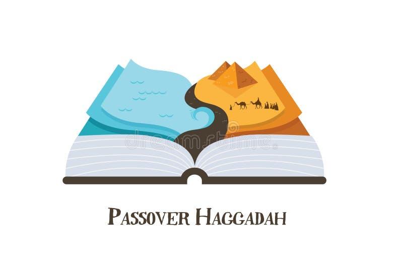 Libro abstracto del haggadah de la historia del pssover Judíos fuera de Egipto ejemplo del vector del diseño ilustración del vector