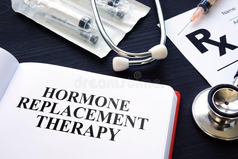 Libro acerca de la terapia de reemplazo hormonal imagen de archivo libre de regalías