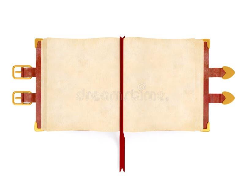 Libro antico aperto con la copertura di cuoio rossa, pagina della carta in bianco per derisione su fotografia stock libera da diritti