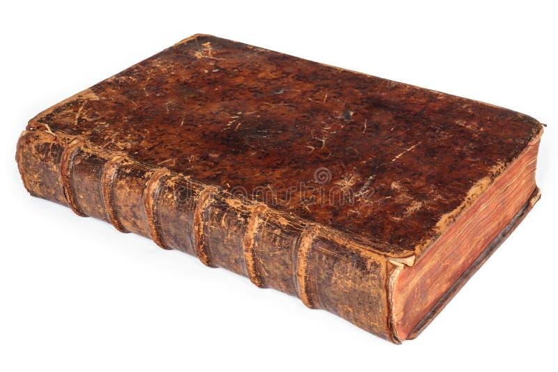 Libro antico di diciassettesimo secolo isolato su bianco immagini stock libere da diritti
