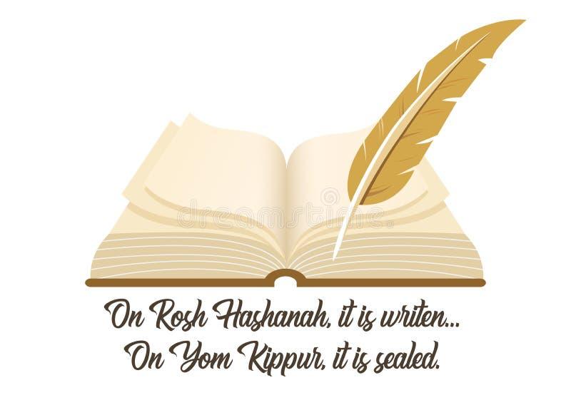 Libro antico un simbolo della festa ebrea Yom Kipur con una frase tradizionale illustrazione vettoriale