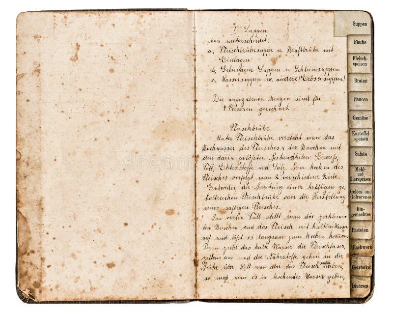 Libro antiguo de la receta con el texto manuscrito fotografía de archivo libre de regalías
