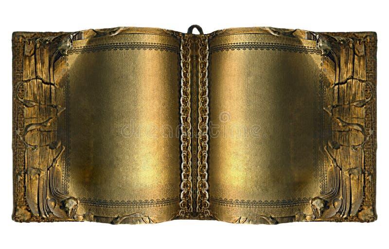 Libro antiguo viejo con las paginaciones del oro fotos de archivo