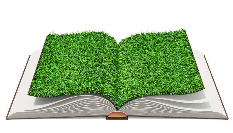 Libro aperto con erba alle pagine rappresentazione 3d illustrazione di stock