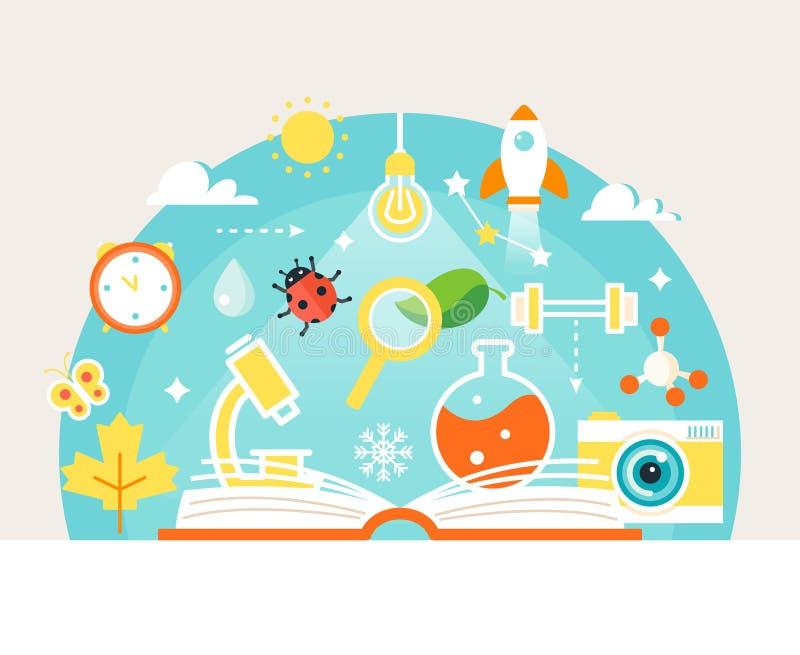 Libro aperto con i simboli di studio di natura e di scienza Concetto di formazione illustrazione vettoriale