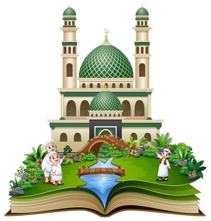 Libro aperto con il saluto musulmano felice della famiglia davanti ad una moschea illustrazione di stock