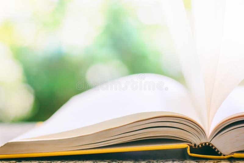 Libro aperto con la pagina di carta soffiata vento contro il g naturale vago fotografia stock