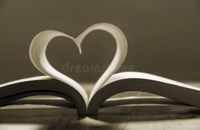 Libro aperto con le pagine che formano forma del cuore. fotografia stock