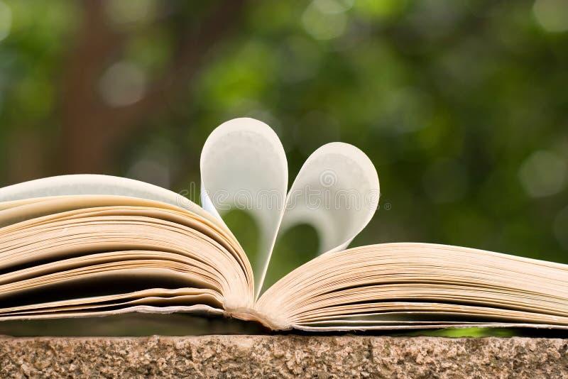 Libro aperto con le pagine a forma di come cuore immagini stock