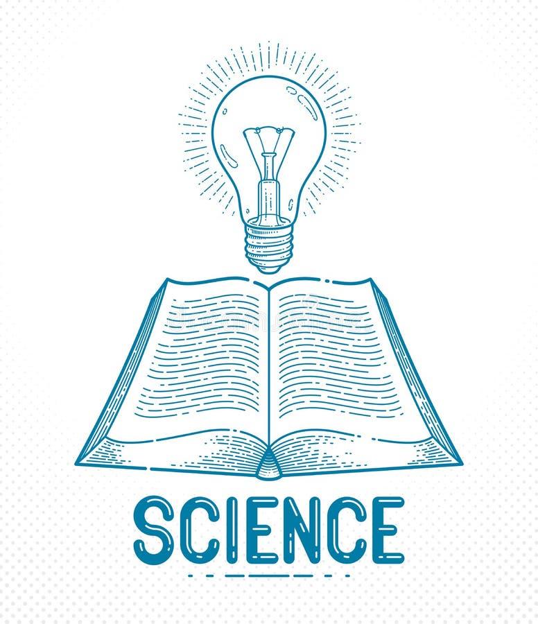 Libro aperto d'annata con l'elemento di progettazione grafica di vettore della lampadina di idea, concetto della letteratura di e royalty illustrazione gratis
