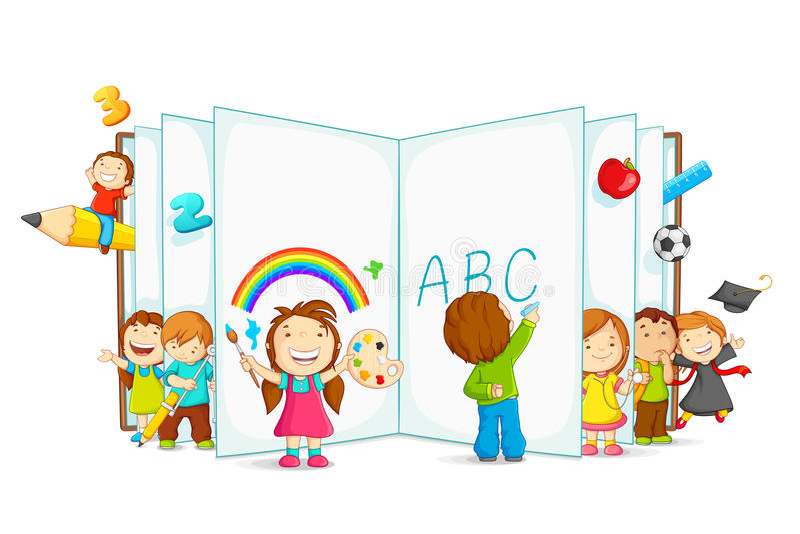 Libro aperto della lettura del bambino royalty illustrazione gratis