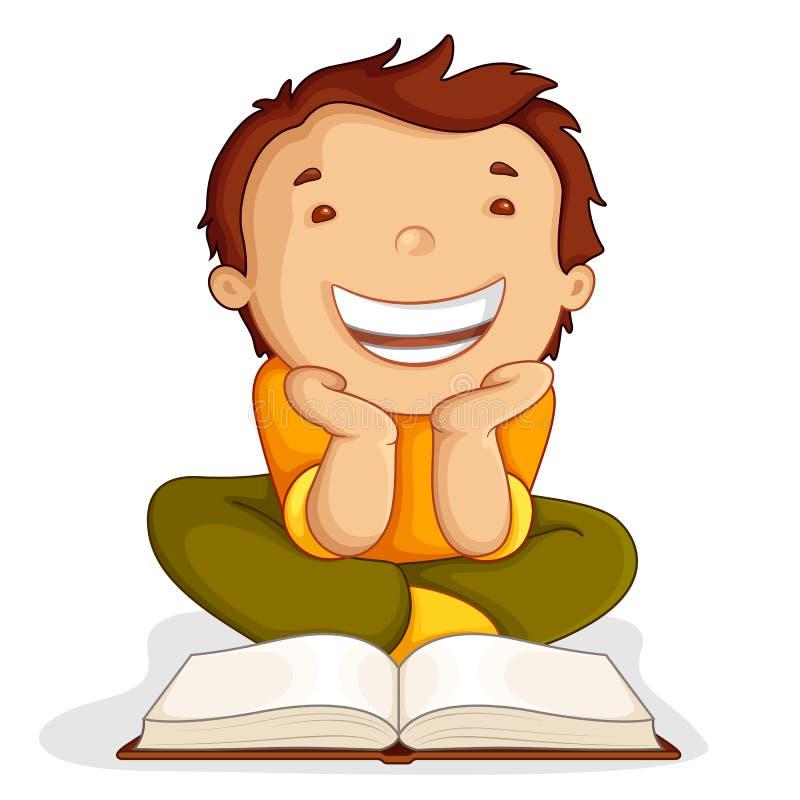 Libro aperto della lettura del bambino illustrazione vettoriale