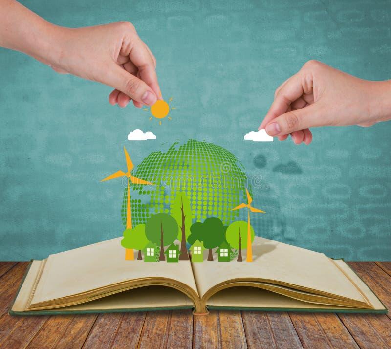 Libro aperto di ecologia immagini stock