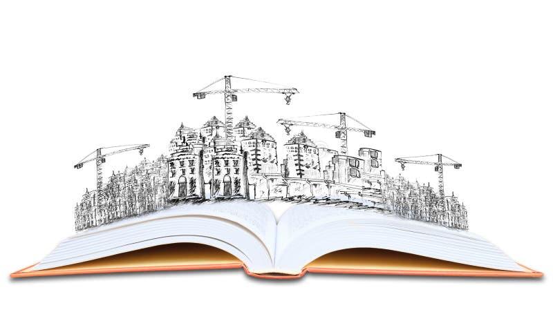 Libro aperto e conoscenza della costruzione di edifici di architettura fotografia stock