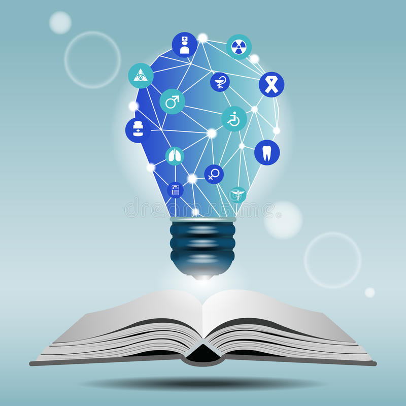 Libro aperto e lampada con l'icona medica royalty illustrazione gratis