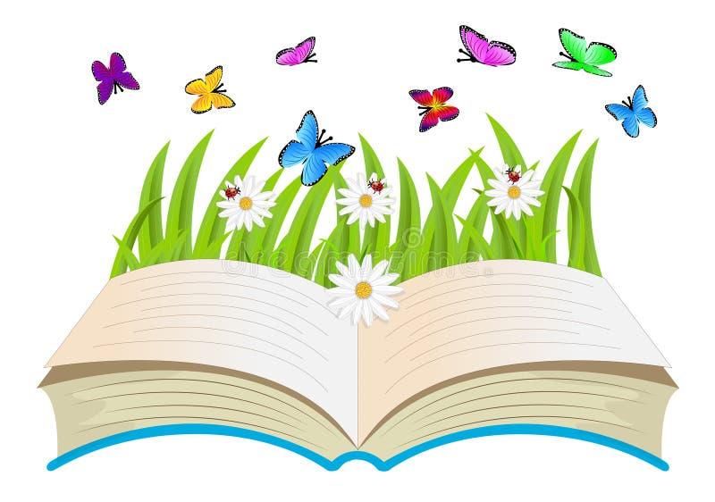 Libro aperto, fiori e farfalle illustrazione vettoriale