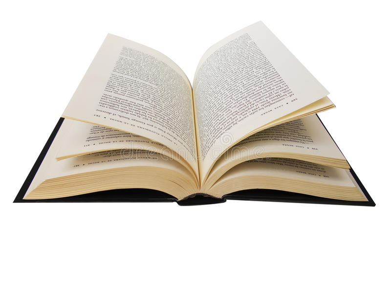 Libro aperto isolato nel bianco fotografie stock