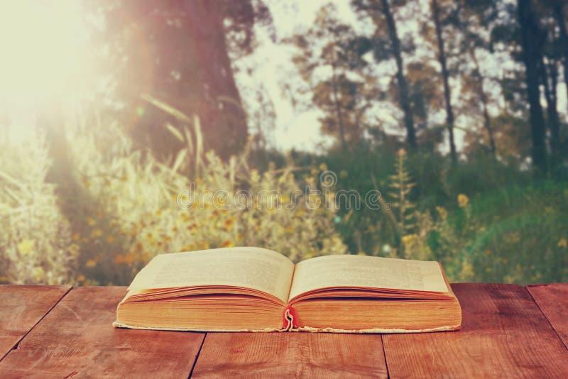 Libro aperto sopra la tavola rustica di legno davanti allo scoppio selvaggio della luce di tramonto e del paesaggio fotografia stock