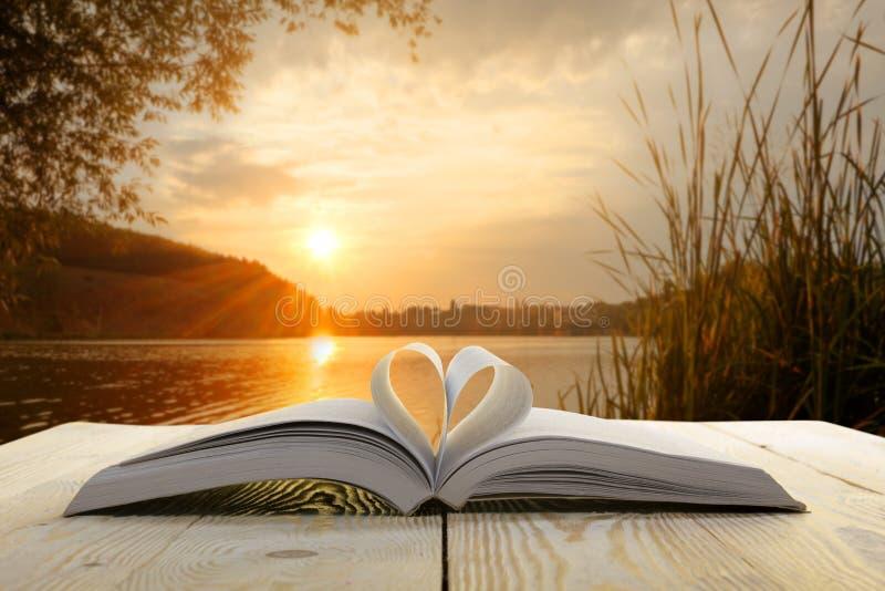 Libro aperto sulla tavola di legno su fondo vago naturale Pagina del libro del cuore Di nuovo al banco Copi lo spazio immagini stock libere da diritti