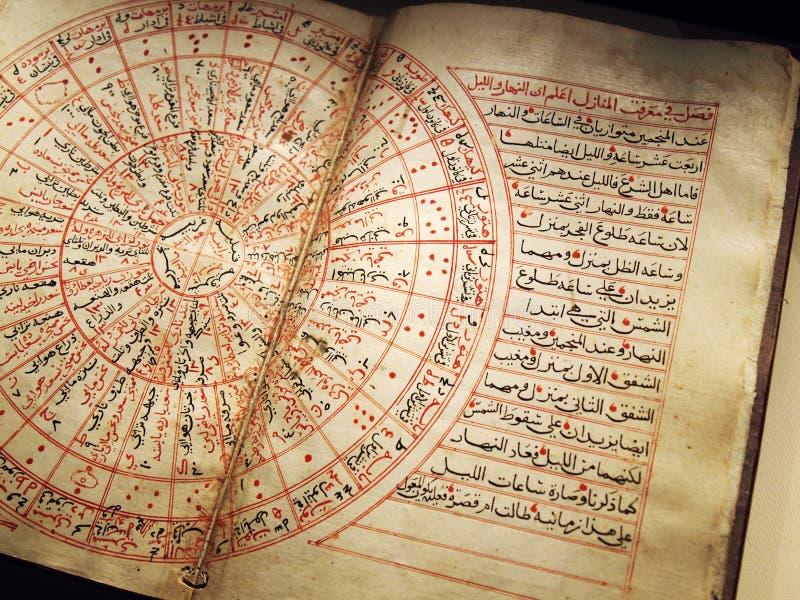 Libro arabo antico su astronomia immagine stock