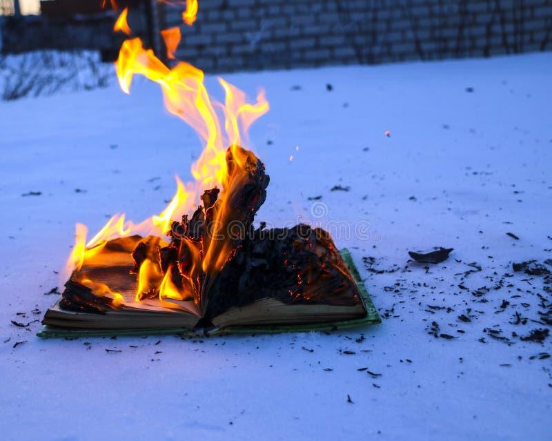 Libro ardiendo en nieve páginas con el texto en quemadura abierta del libro con la llama brillante imágenes de archivo libres de regalías