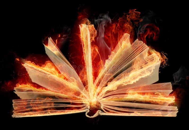 Libro ardiente con las hojas flamming de la cola de milano fotos de archivo libres de regalías