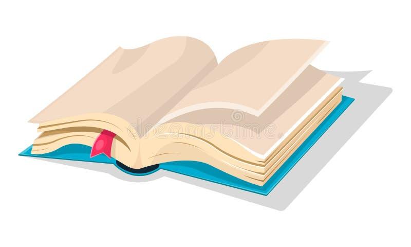 Libro azul abierto con las hojas vacías y la señal rosada, diario, sketchbook stock de ilustración