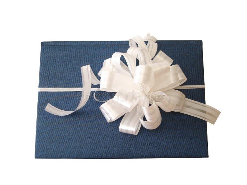Libro azul atado cinta blanca fotos de archivo libres de regalías